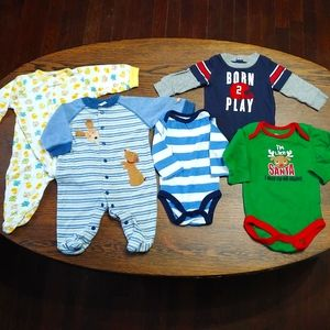 Baby boys mixed lot of pj's and long sleeves 0-3M